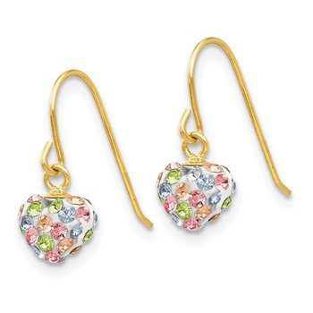 14k Pastel Multi-colored Crystal Heart Dangle Earrings