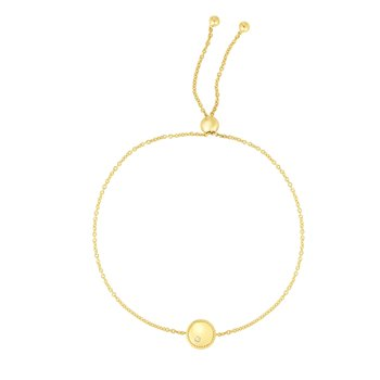14K Gold Diamond Round Piccolini Adjustable Bracelet