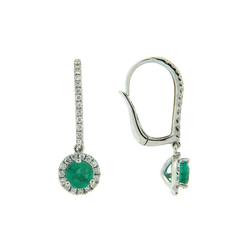 Paragon Fine Jewellery 18k White Gold Earrings with Emerald & Diamond