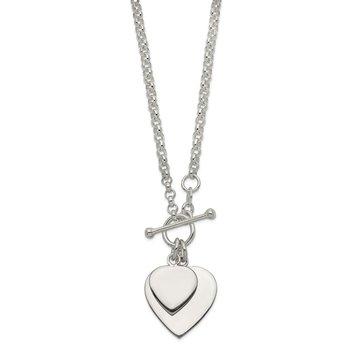 Sterling Silver Engraveable Double Heart Toggle Necklace