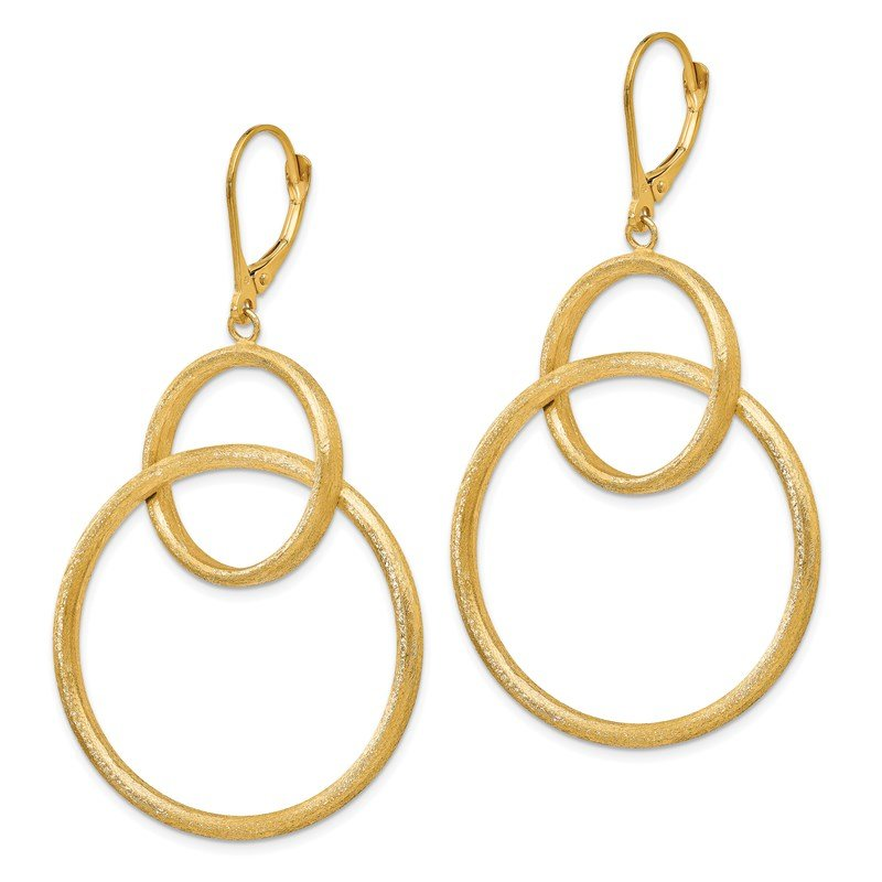 Leslie's Leslie's 14K Scratch Finish Round Leverback Earrings