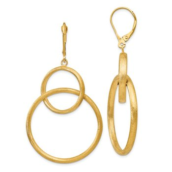 Leslie's 14k Scratch Finish Round Dangle Leverback Earrings