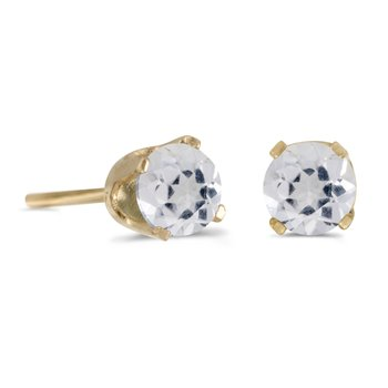 14k Yellow Gold 4 mm Round White Topaz Stud Earrings