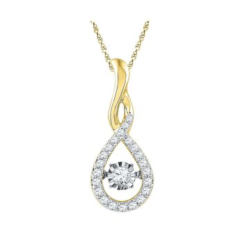 10kt Yellow Gold Womens Round Diamond Solitaire Moving Twinkle Teardrop Pendant 1/4 Cttw