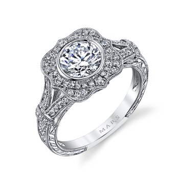 MARS 25938 Diamond Engagement Ring 0.46 Ct Dia, 0.10 Ct Saph.