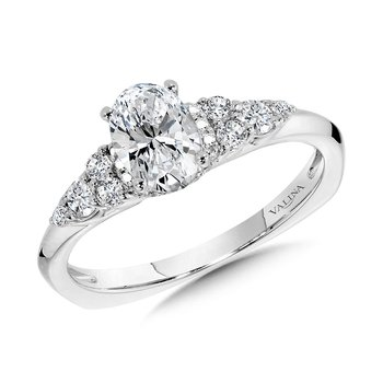 Tapered Oval Diamond Engagement Ring