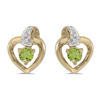 14k Yellow Gold Round Peridot And Diamond Heart Earrings