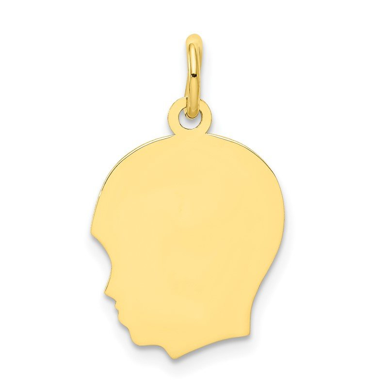 Quality Gold 10K Plain Medium .018 Gauge Facing Left Engravable Boy Head Charm