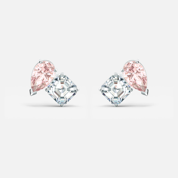 Attract Soul Pierced Earrings, Pink, Rhodium plated