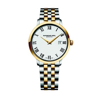 Men's Quartz Date Watch, 39 mm steel on steel, two-tone yellow gold PVD plated