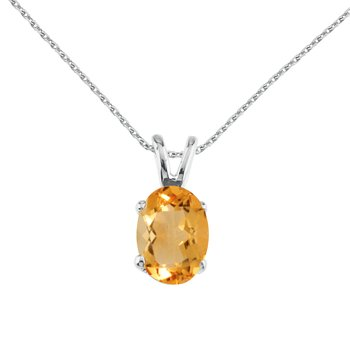 14k White Gold Oval Large 6x8 mm Citrine Pendant