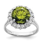 Quality Gold Sterling Silver Rhodium-plated Green & Clear CZ Ring