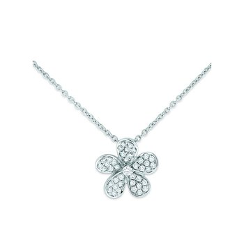 Diamond Small Floral Necklace in 14k White Gold with 46 Diamonds weighing .20ct tw.