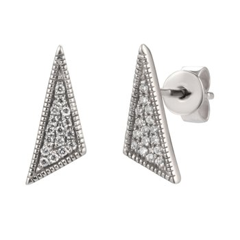 14K gold petite triangle earring 0.08ct