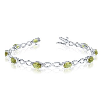 14k White Gold Oval Peridot and Diamond Bracelet