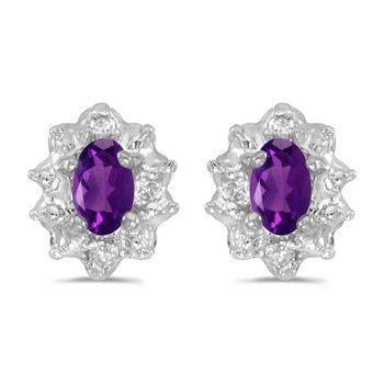10k White Gold 5x3 mm Genuine Amethyst And Diamond Earrings