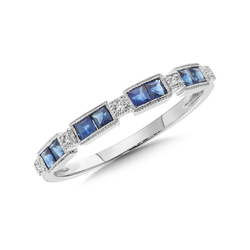 SDC Creations Blue Sapphire and Diamond Stackable Band