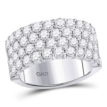 14kt White Gold Womens Round Diamond 4 Row Pave Wedding Band 3.00 Cttw