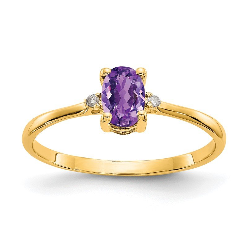Quality Gold 14k Diamond & Amethyst Birthstone Ring