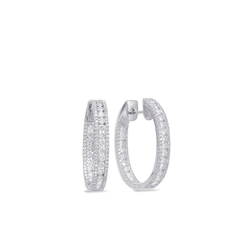 S. Kashi  & Sons Diamond Hoop Oval Earring