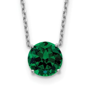 Sterling Silver RH Plated Green Swarovski Crystal w/ 2in ext Necklace