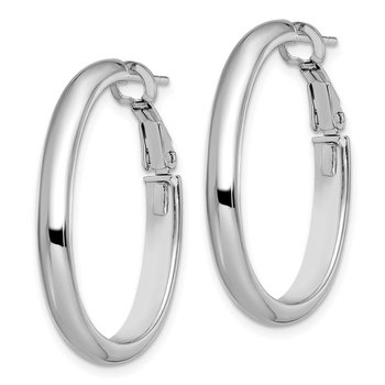 Leslie's 14k White Gold Polished Oval Hoop Earrings