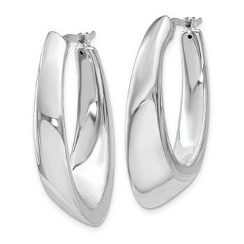 14k White Gold Tapered Slanted Oval Hoop Earrings