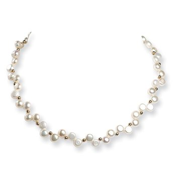 Sterling Silver FW Cultured Button Pearl 16in Necklace