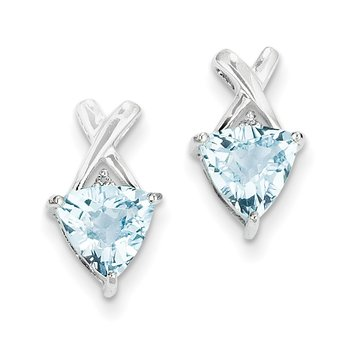 14k White Gold Blue Topaz and White Topaz Trillion Post Earrings