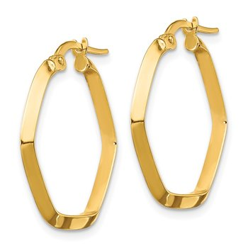 14K Small 2x2mm Knife Edge Hexagon Hoop Earrings