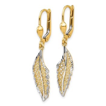 14K and Rhodium Polished and Textured Leaf Leverback Earrings