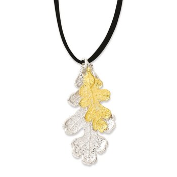 Silver and 24k Gold Dipped Double Oak Leaf 20 inch Leather Cord Necklace