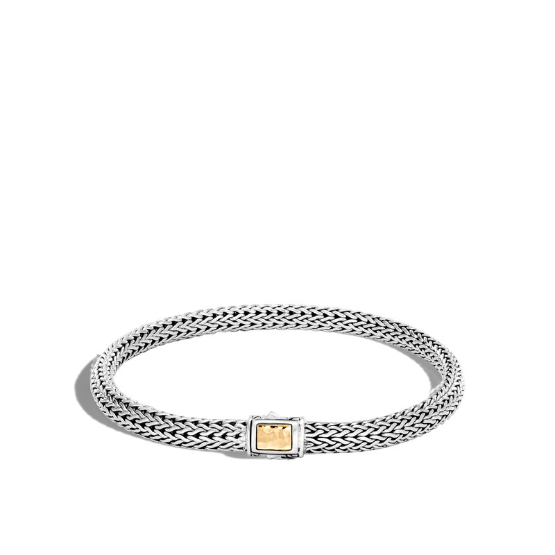 JOHN HARDY Classic Chain 5MM Hammered Clasp Bracelet, Silver, 18K Gold