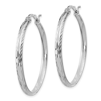 Sterling Silver Rhodium-plated 2.5mm Textured Round Hoops