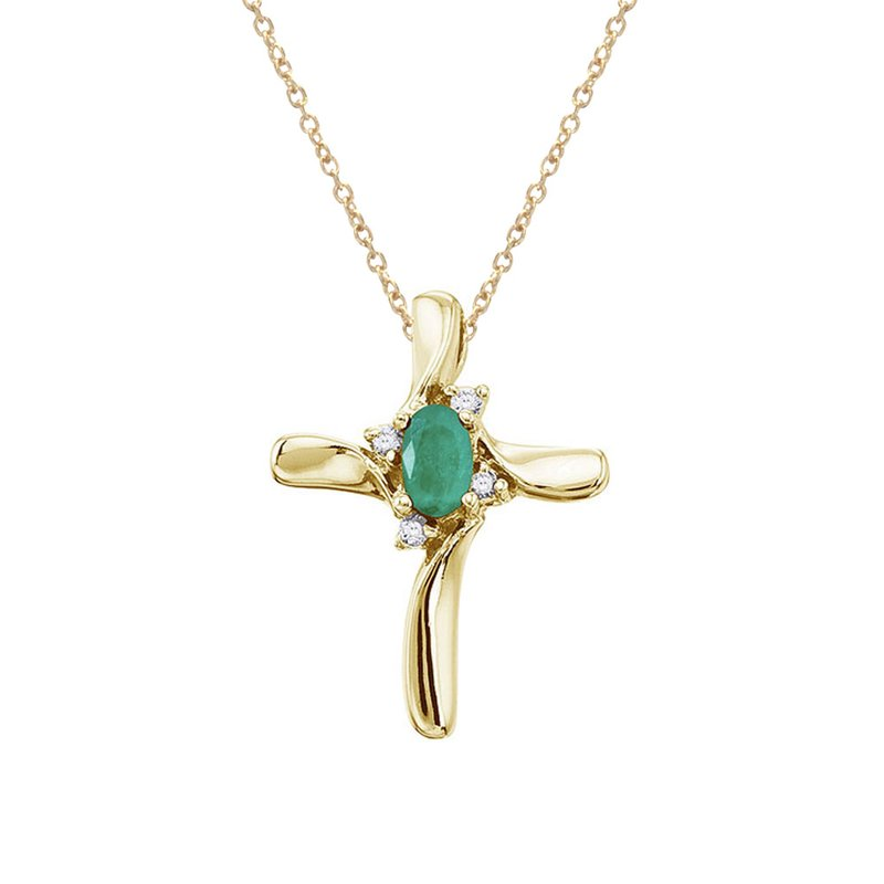 Color Merchants 14K Yellow Gold Emerald and Diamond Cross Pendant