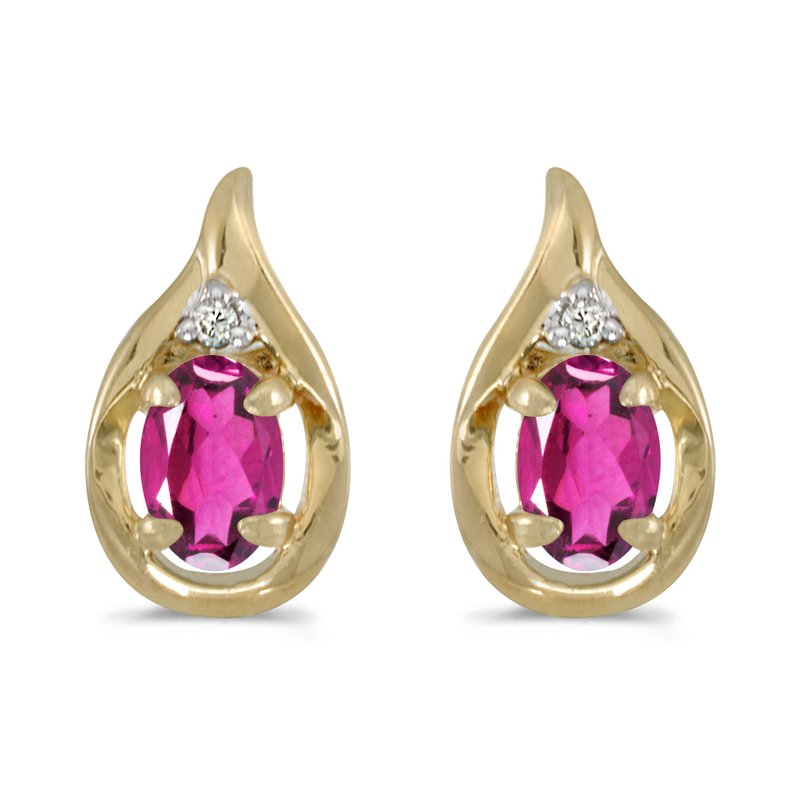 Color Merchants 10k Yellow Gold Oval Pink Topaz And Diamond Earrings