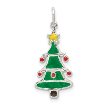 Sterling Silver Polished Enamel Christmas Tree Pendant