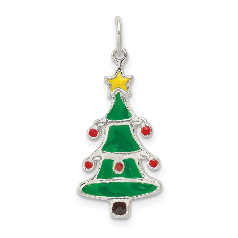 Quality Gold Sterling Silver Polished Enamel Christmas Tree Pendant