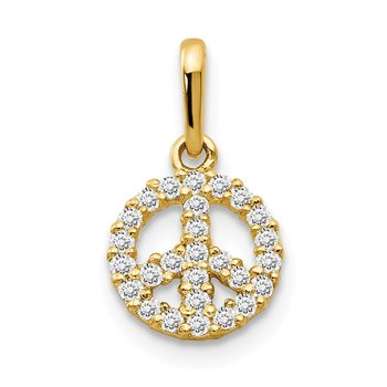 14k CZ Children's Peace Sign Pendant