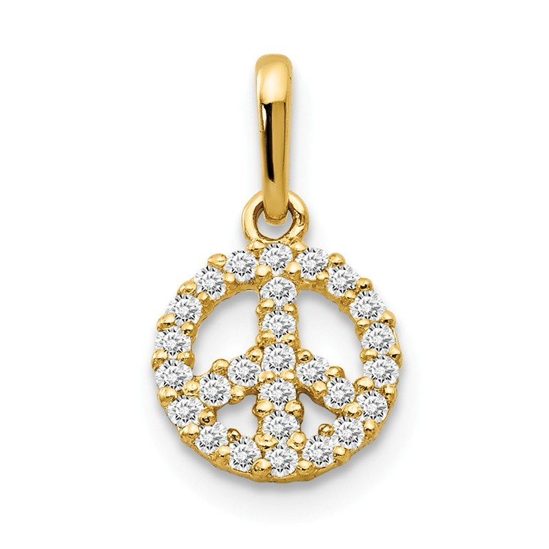 Quality Gold 14k CZ Children's Peace Sign Pendant