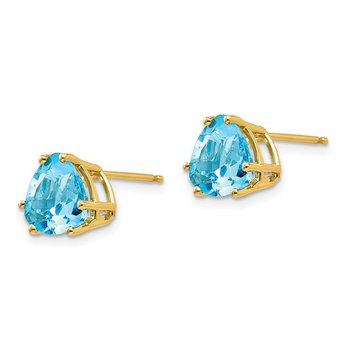 14k 8mm Trillion Blue Topaz Earrings