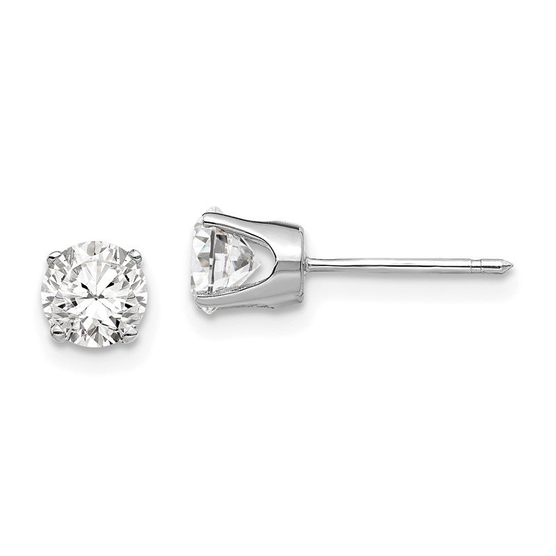 Quality Gold 14k White Gold 5mm CZ stud earrings