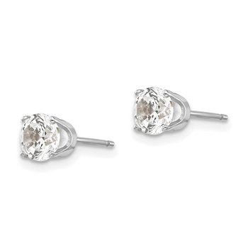 14k White Gold 5mm CZ stud earrings