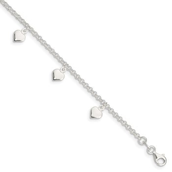 Sterling Silver Polished Hearts Anklet