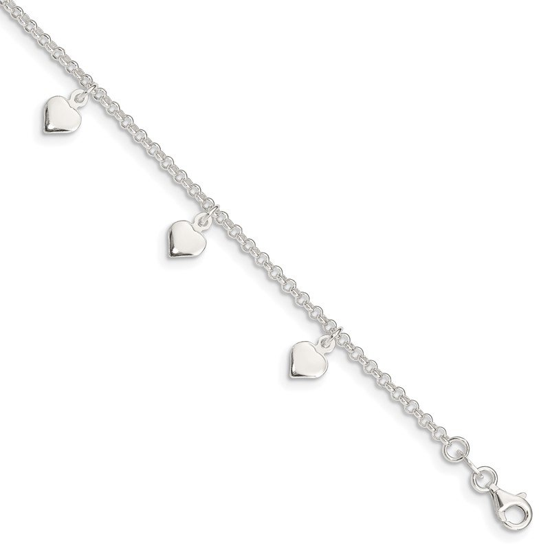 Quality Gold Sterling Silver Polished Hearts Anklet