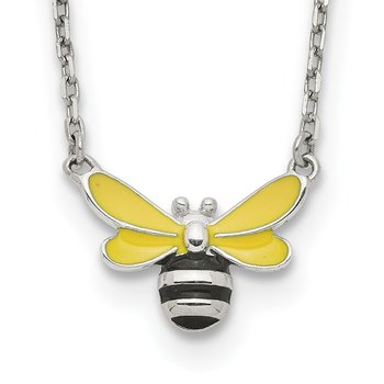 Sterling Silver Enameled Bumblee w/ 2in Extension Necklace