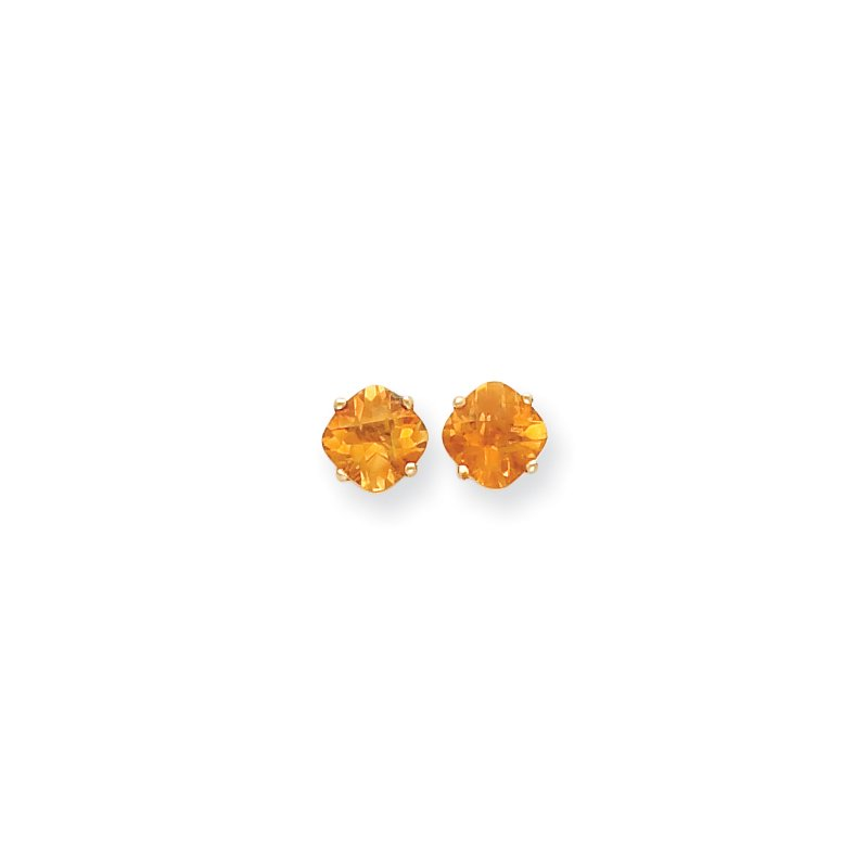 Quality Gold 14k 7x7mm Cushion Citrine Checker Earring