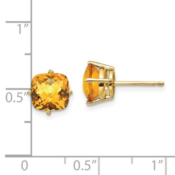 14k 7x7mm Cushion Citrine Checker Earring