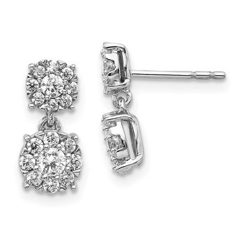 14k White Gold Diamond Cluster Dangle Earrings