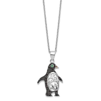 Cheryl M SS Black Rhodium B&W CZ Green Glass Penguin 18.25in Necklace
